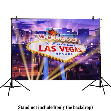 GreenDecor Polyster 7x5ft Photography Backdrop Classical Sign welcome Las Vegas city night spotlight party banner background props photocall photobooth photo studio](Party City Photo Props)