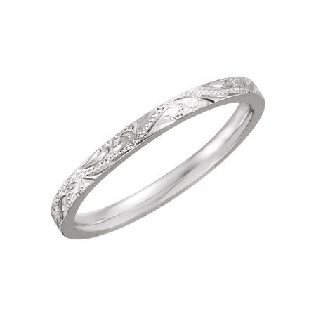 Platinum Hand Engraved Band - Platinum Size 7 Polished Hand Engraved Band Ring - 4.4 Grams