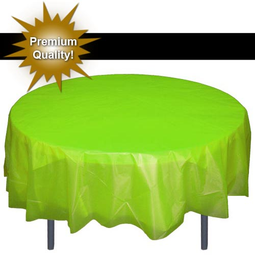 Exquisite 84u201d Round Tablecloth Cover   Lime Green Disposable Plastic  Tablecloth   Heavy Duty Premium Plastic Disposable Table Cloth Round, 1ct