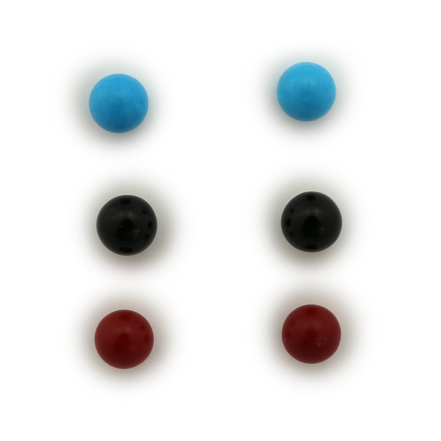 14k Yellow or White Gold 5mm Simulated Turquoise, Simulated Coral and Onyx Ball Stud Earrings Set by