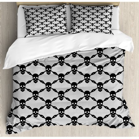 Halloween Bedding Sets Store (Gothic Duvet Cover Set, Halloween Horror Theme Spooky Black Skulls Checkered Pattern with Skeleton Bones, Decorative Bedding Set with Pillow Shams, Black White, by)