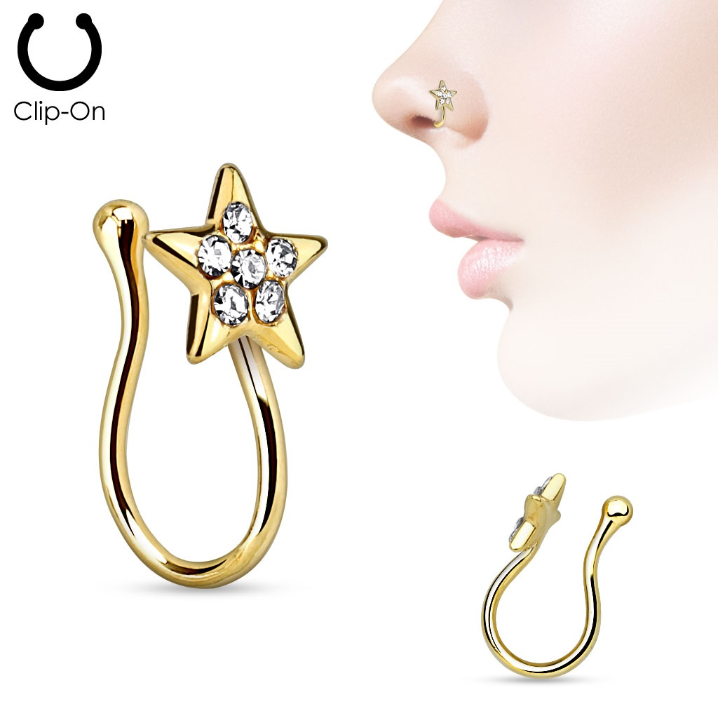 Star with Gems Gold IP Non Piercing Nose Clip Nose ring
