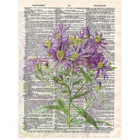 Art N Wordz Purple Flower Bouquet Original Dictionary Sheet Pop Art Wall Or Desk Art Print Poster
