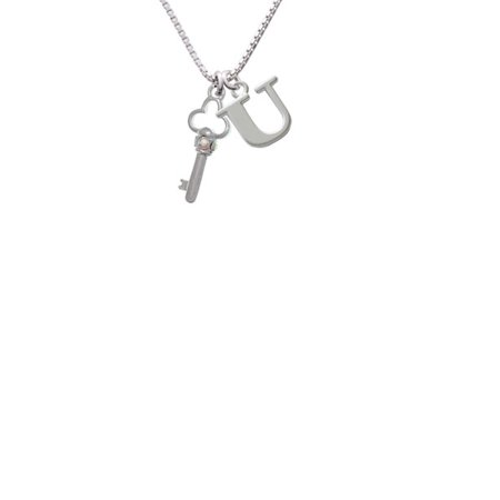 Silvertone Trefoil Key With Ab Crystals Capital Initial U Necklace