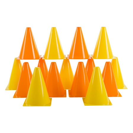 Traffic Safety Cones, Set of 15- Plastic, Colorful, Flexible for Kids Indoor and Outdoor Games, Sports Training, Driving, or Barriers by Hey! Play!