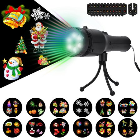 Handheld LED Projector Lights,addsmile Flashlight Projector with 12 Decorative Projection Slides for Christmas, Halloween, Holiday Decor