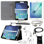 Samsung Galaxy Tab S2 8.0 10-Item Accessory Bundle by DigitalsOnDemand ® -  Leather Cover Case, Screen Protector, Stylus Pen, USB, Car Charger Adapter, Earphones/Splitter, OTG & AUX Cable, Travel Bag