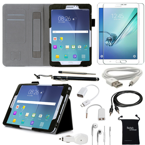 Samsung Galaxy Tab S2 8.0 10-Item Accessory Bundle by DigitalsOnDemand �� -  Leather Cover Case, Screen Protector, Stylus Pen, USB, Car Charger Adapter, Earphones/Splitter, OTG & AUX Cable, Travel Bag