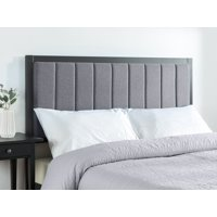 Zinus Anuar Banded Grey Upholstered Metal Headboard, Multiple Sizes