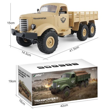 JJRC Q60 1:16 2.4G 2CH 6WD Remote Control Tracked Off-Road Military Truck RC Car RTR  Brush motor Birthday Gifts - image 7 de 12