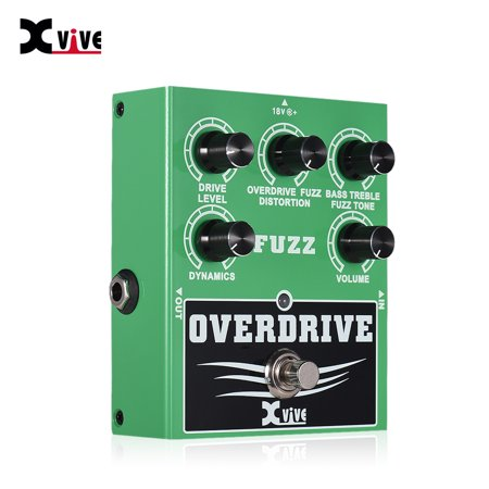 XVIVE W2 Overdrive Fuzz Guitar Effect Pedal Bass Treble Control Dynamic Response Adjustable True Bypass Full Metal