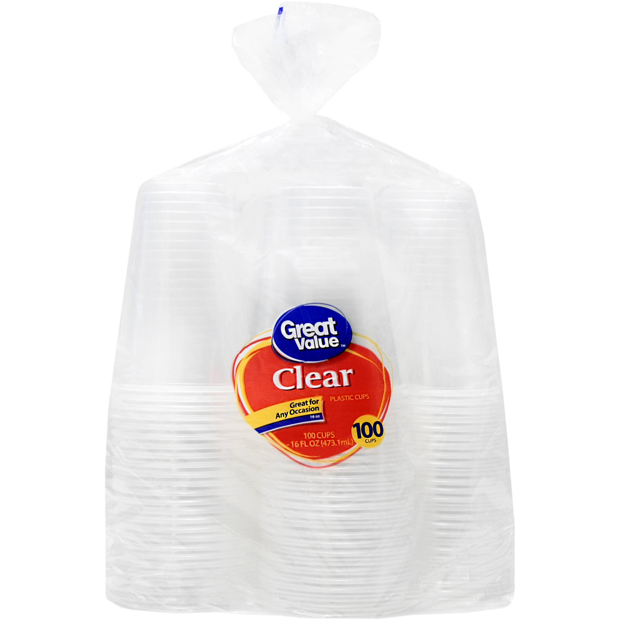 Great Value Clear Cups, 16 fl oz, 100 count