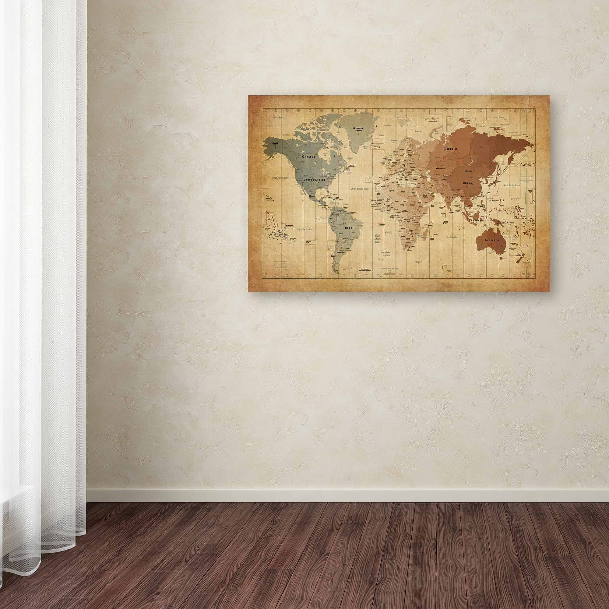 "Trademark Fine Art ""Time Zones Map of the World"" Canvas Art by Michael Tompsett"