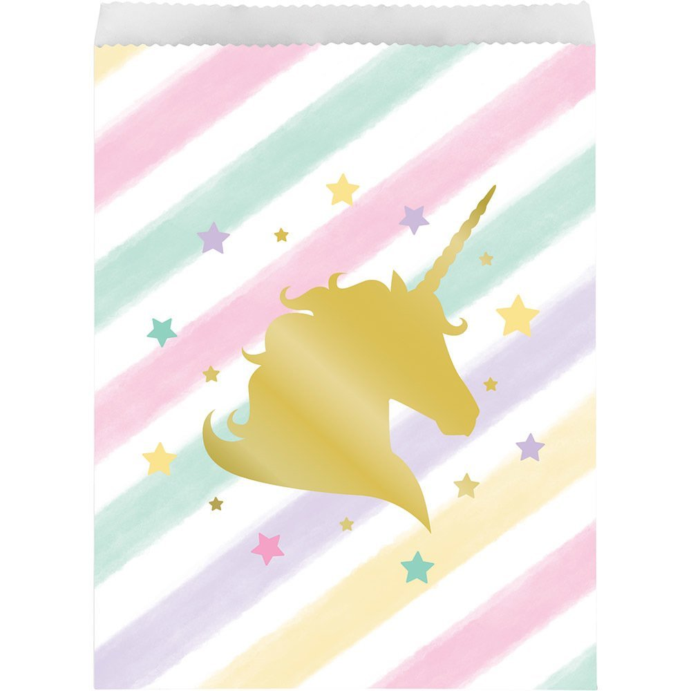 Unicorn Sparkle Paper Treat Bags (10 ct), One package of 10 favor bags By Creative Party