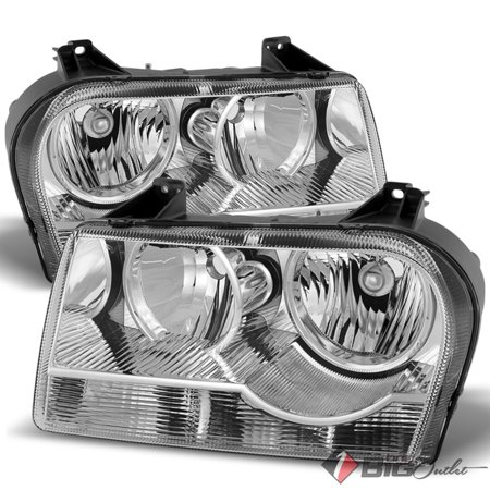 For 2005-2008 Chrysler 300 Chrome Housing Non-Projector Halogen Headlights Assembly Pair Left+Right/2006 (2006 Chrysler 300 Engine Size 2-7 L)