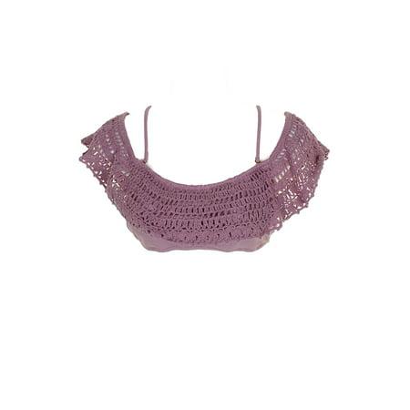 Raisins Lilac Cancun Crochet Off-The-Shoulder Bikini Top M