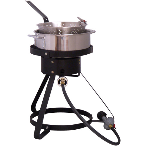"King Kooker 16"" Propane Outdoor Cooker with Stainless Steel Fry Pan and Basket"