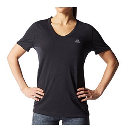 Adidas Ladies Core - Adidas Womens Athletic V-Neck Shirt Black & Gray - M