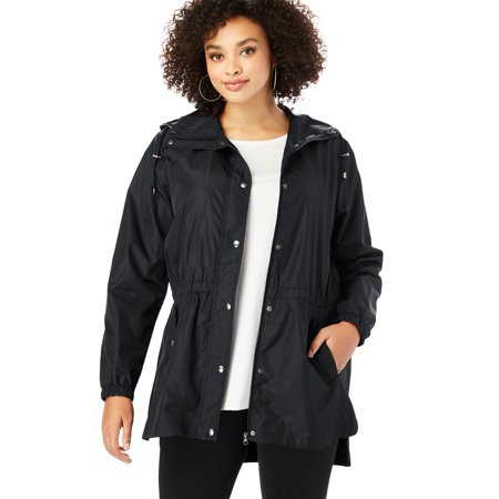 High Performance Raincoat - Roaman's Plus Size Essential Rain Jacket With High-low Hem
