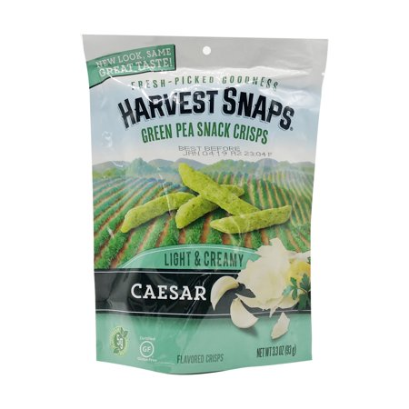 - Pack of 3 - Harvest Snaps Light & Creamy Caesar Green Pea Snack Crisps, 3.3 oz