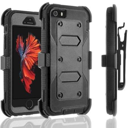 Cell Guard Antioxidant - iPhone SE Case, iPhone 5 Case, iPhone 5S Case, [SUPER GUARD] Dual Layer Protection With [Built-in Screen Protector] Holster Locking Belt Clip+Circle(TM) Stylus Touch Screen Pen (Black)