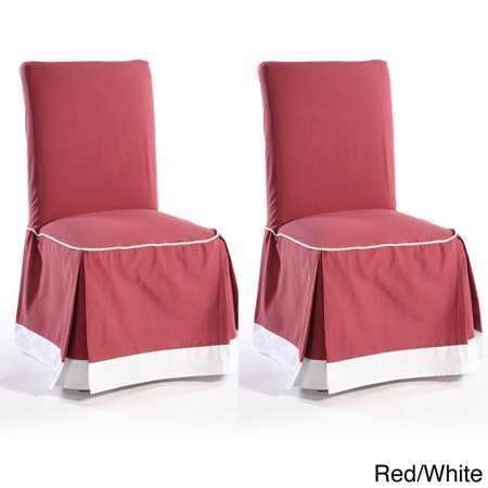 - Classic Slipcovers Skirted Two-tone Cotton Dining Chair Slipcovers (Set of 2)