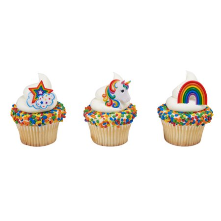 24 Rainbow And Unicorn Cupcake Cake Rings Birthday Party Favors Cake Toppers - Birthday Cake Letters