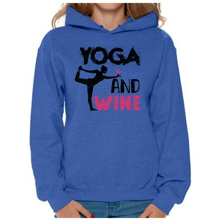 Awkward Styles Women's Yoga and Wine Graphic Hoodie Tops Workout Top