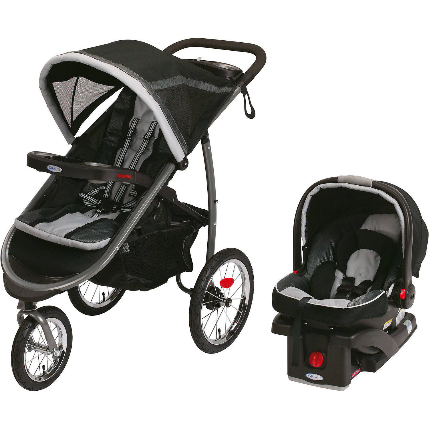 Graco FastAction Fold Jogger Click Connect Travel System Jogging Stroller Gotham