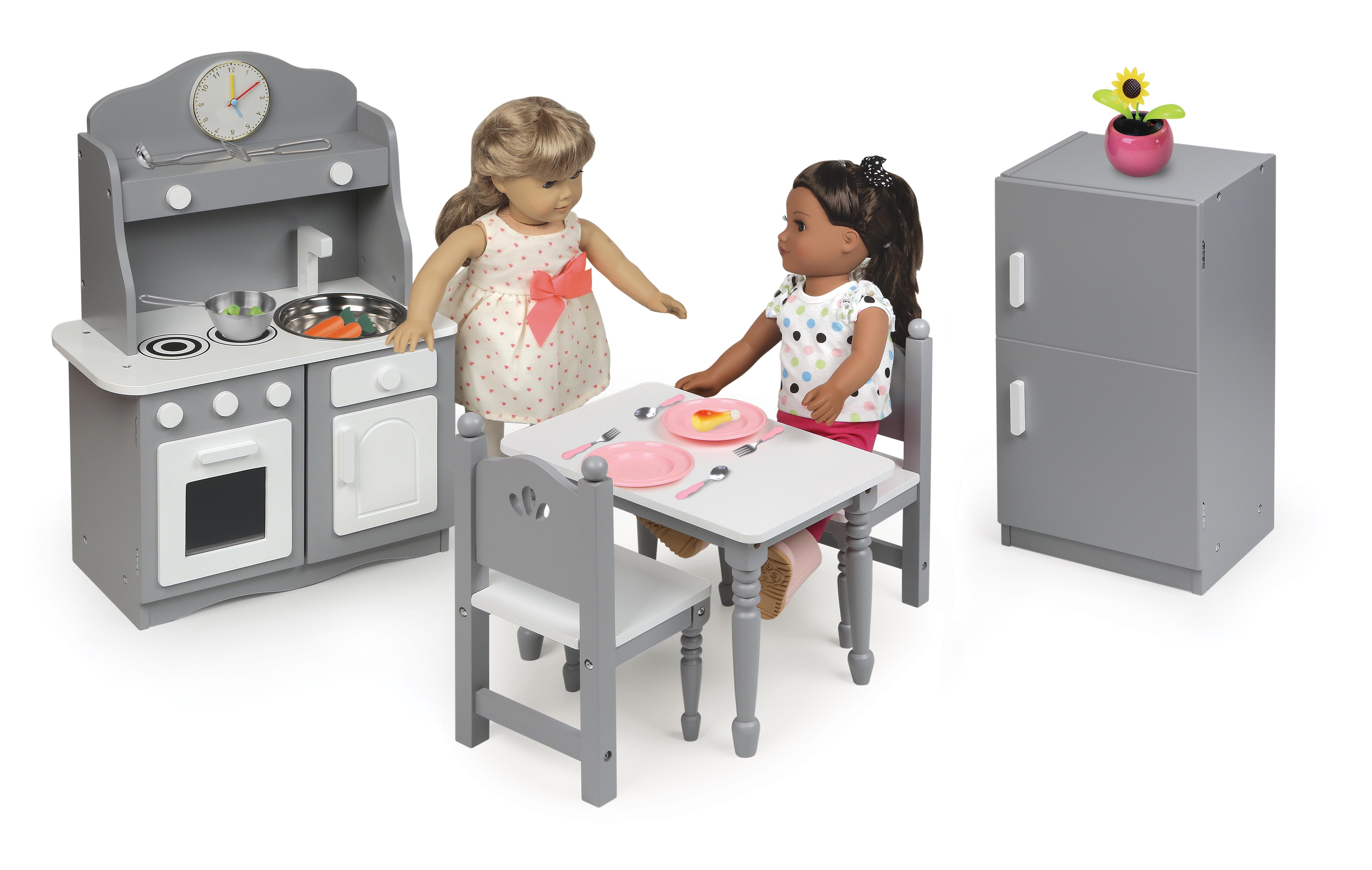 Badger Basket Kitchen Furniture Set For 18 Inch Dolls Gray White