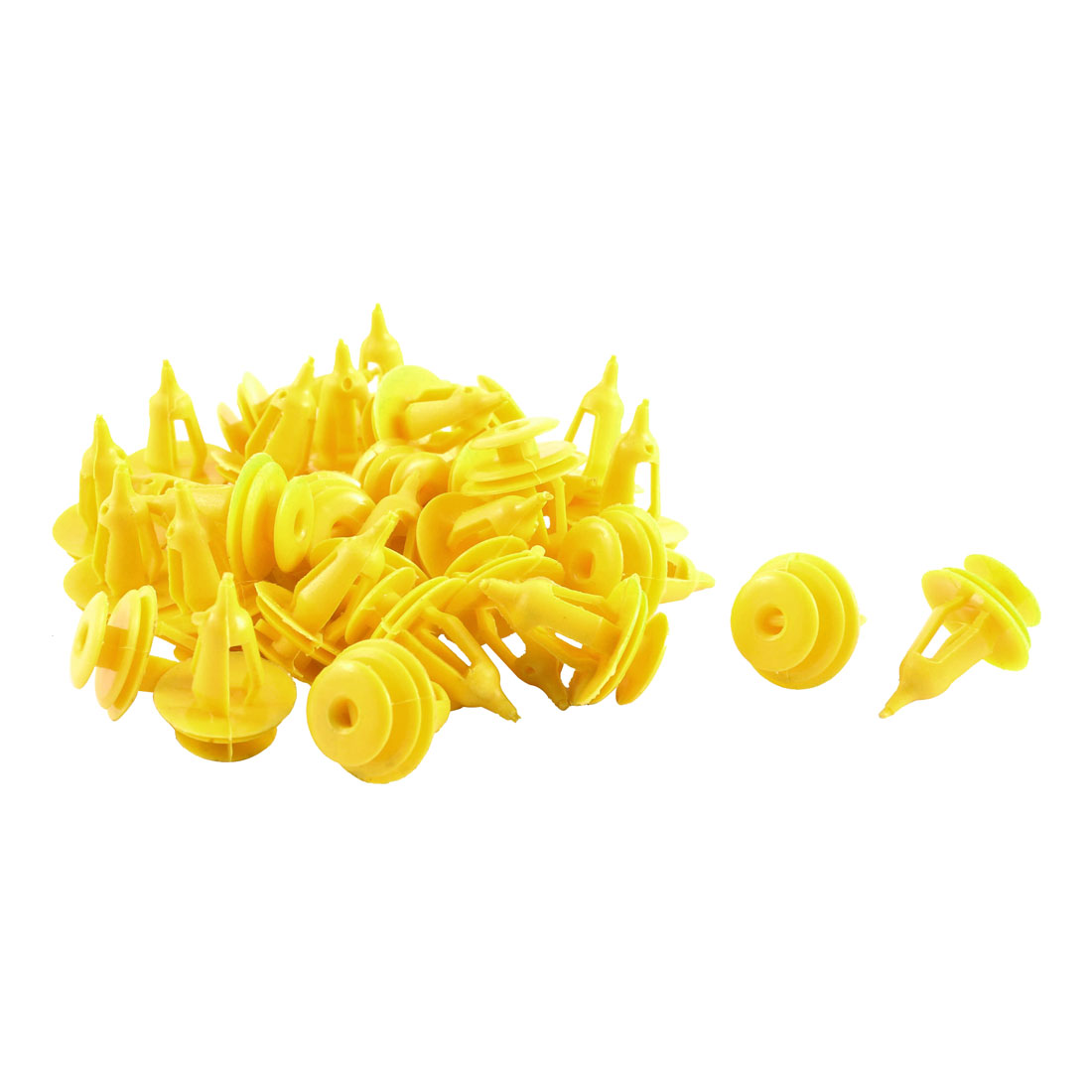 30 Pcs Yellow Plastic Defender Fender Push-Type Mat Clips for