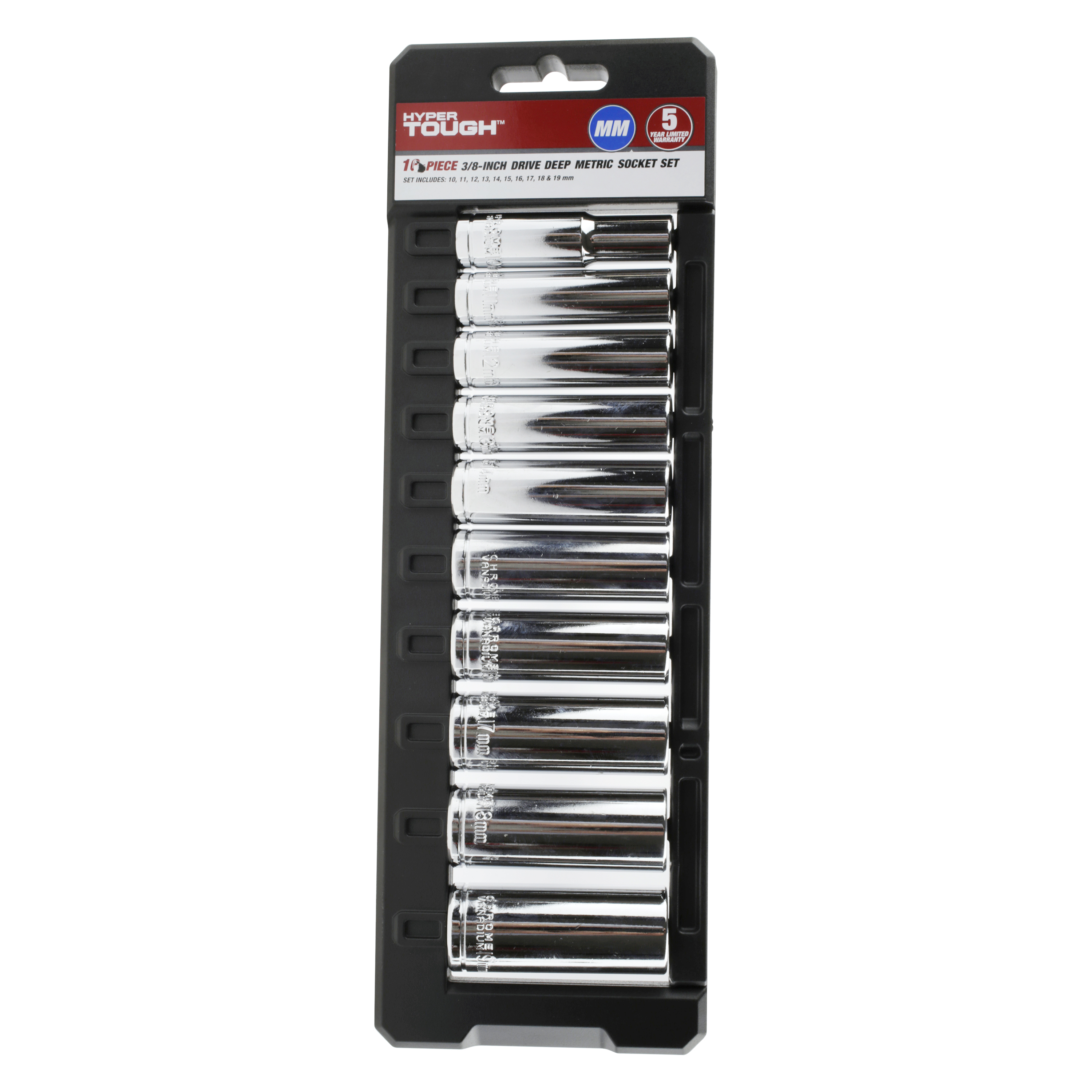 Hyper Tough 10 Piece 3 8ths Inch Drive Deep Metric Socket Set