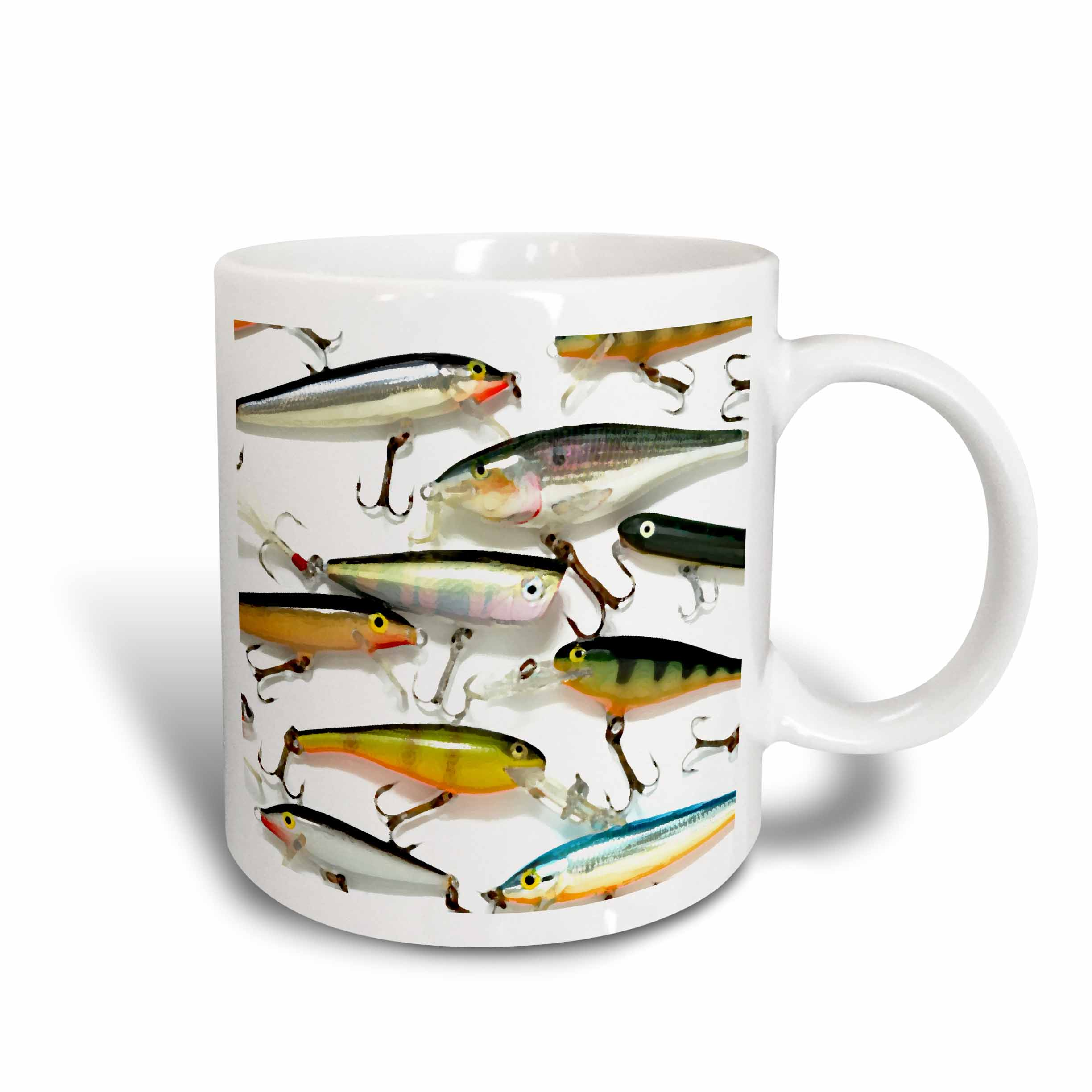 3dRose Fly fishing Lures, Ceramic Mug, 15-ounce