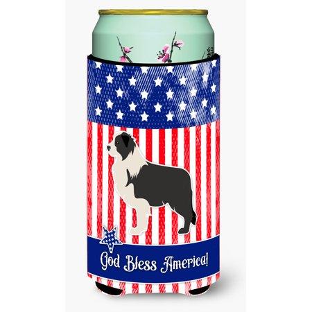 USA Patriotic Black Border Collie Tall Boy Beverage Insulator Hugger BB3323TBC