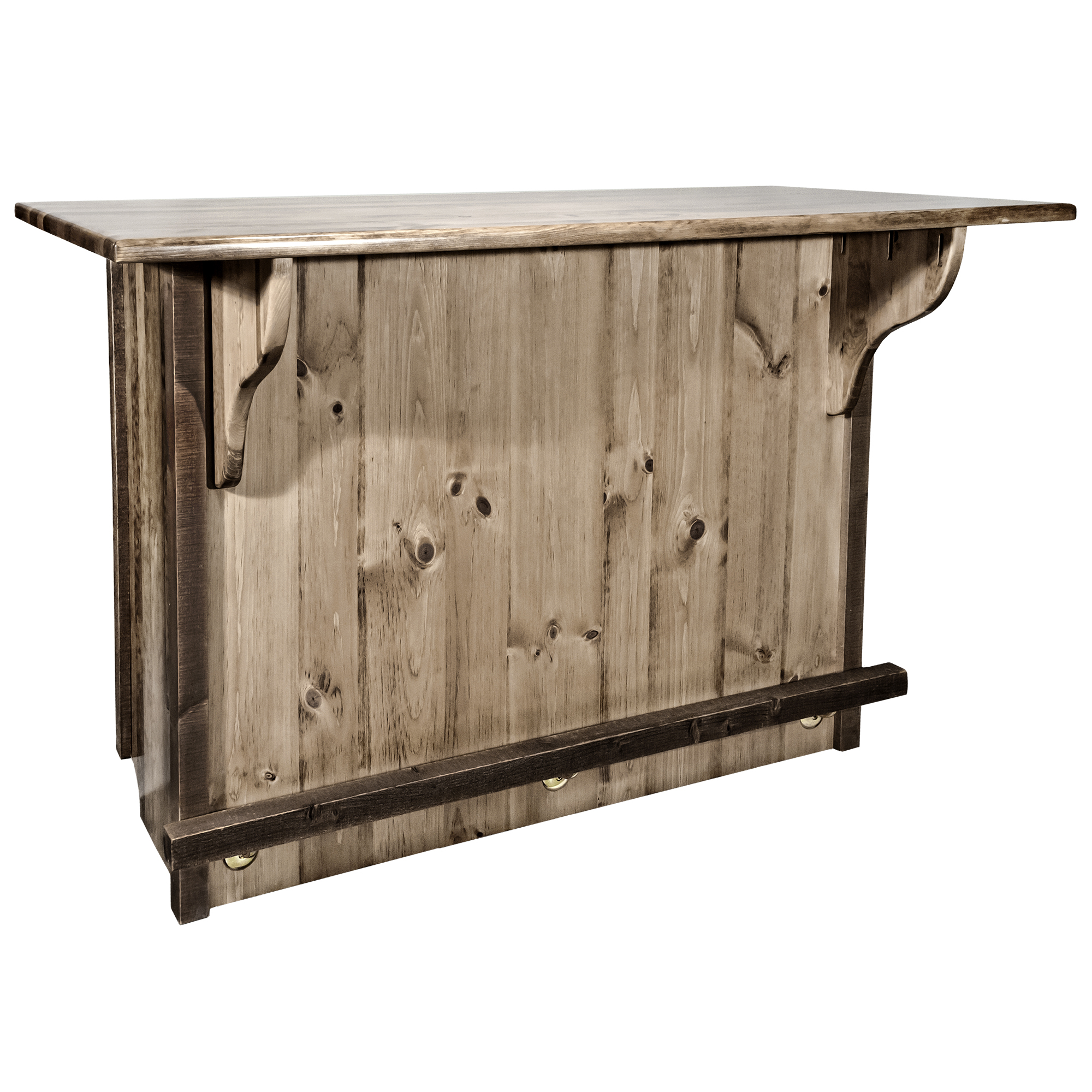 Homestead Collection Deluxe Bar with Foot Rail, Stain & Clear Lacquer Finish