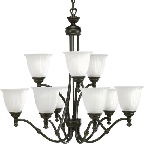 Progress Lighting P4509 Renovations Nine-Light Two-Tier Chandelier with Etched G