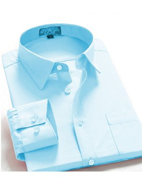 dee44e90c877 Product Image Men's Regular Fit Long Sleeve French Cuff One Pocket Dress  Shirt In Light Blue
