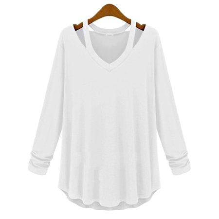 Halter Fashion Ladies Tube Top - Kojooin Women's Lady Fashion Casual V Neck Halter Long Sleeve Knit T Shirt Tops Blouse Color:White Size:Asia S
