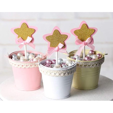 21 Pac Pink And Gold Star Cupcake Toppers Picks Glitter Cake Baby Girls Shower Birthday Party Wedding Decoration Supplies