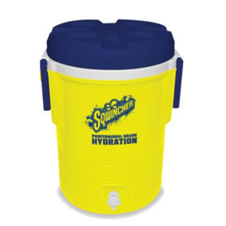 (Sqwincher 5 Gallon Yellow And Blue Dispenser Cooler With Push Button Spigot, Screw On Top And Handles)