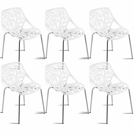 Sensational Set Of 6 Birch Sapling Plastic Dining Side Chairs Stackable Accent Armless White Walmart Canada Home Interior And Landscaping Ologienasavecom