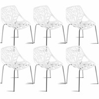 Costway Set Of 6 Birch Sapling Plastic Dining Side Chairs Stackable Accent Armless White