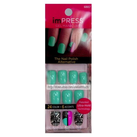 Broadway Nails Impress Press-on Nails, Glitz & Glamour, 24 Nail Gels Assorted Styles/Color