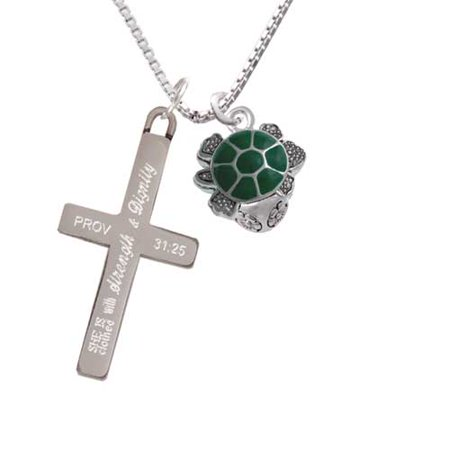 Green Enamel 2-D Turtle Spinner - Strength and Dignity - Cross