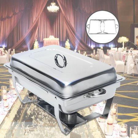 9 Quart Stainless Steel Rectangular Chafer Chafing Dish Food Food Tray Buffet Dining Round hot pot brush pot home food sub-container Christmas Thanksgiving Party Dinner Food