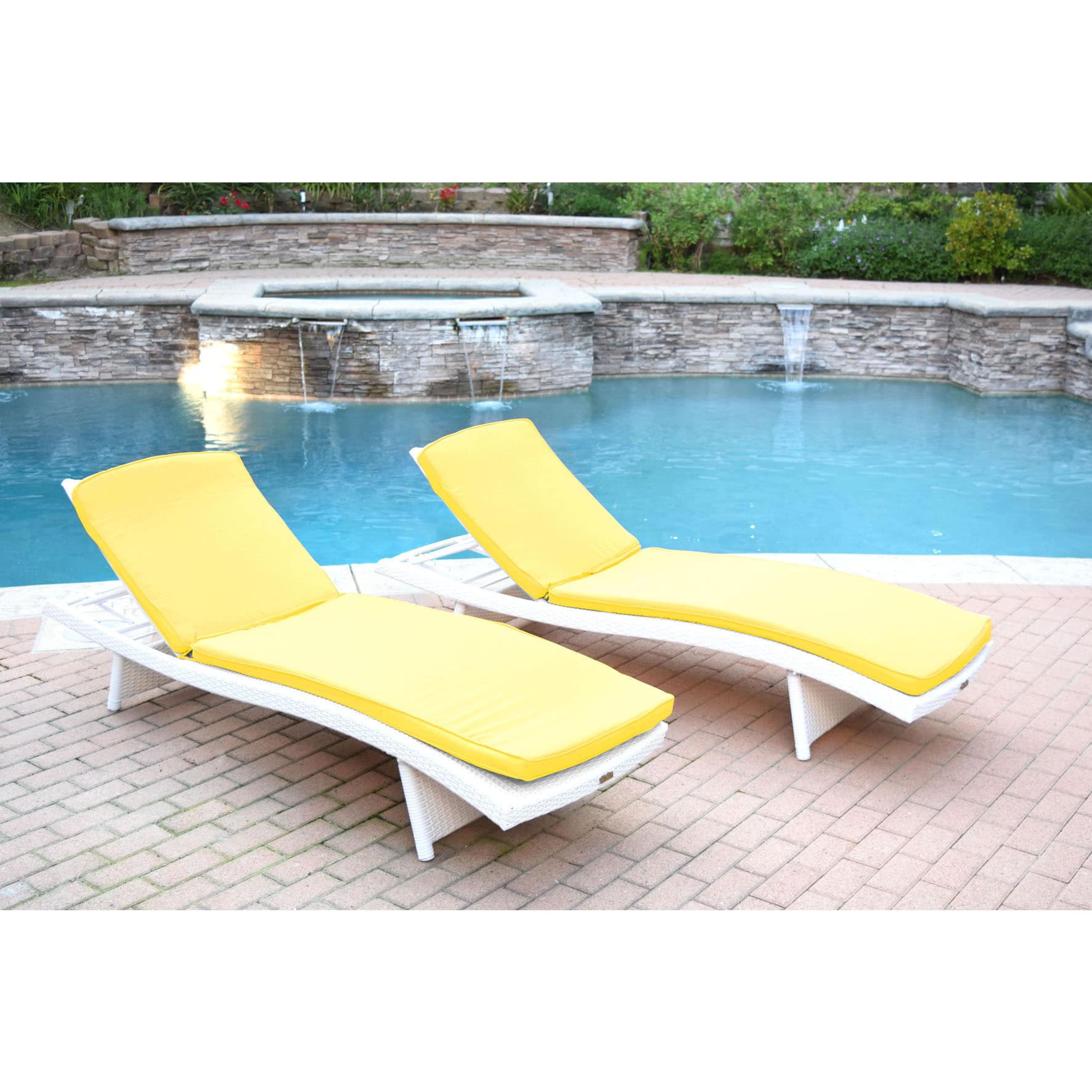 Jeco White Wicker Adjustable Chaise Lounger with Cushions (Set of 2)