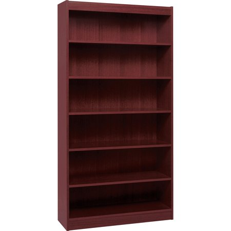 Hardwood Veneer Furniture Collection - Lorell, LLR60075, Panel End Hardwood Veneer Bookcase, 1 Each, Mahogany