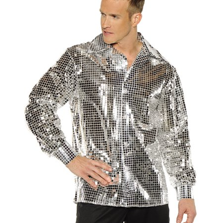 Silver 1970'S Disco Ball Adult Mens Groovy Sequin Costume Shirt-Xxl - Seventies Disco Clothing