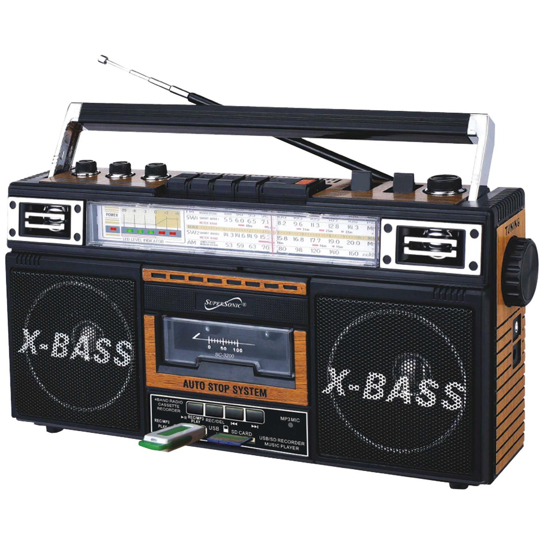 Supersonic SC-3200 WOOD Retro 4-Band Radio & Cassette Player (Wood)