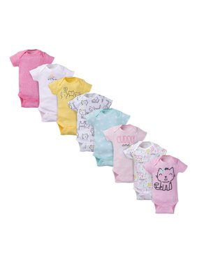 Onesies Brand Baby Girl Short Sleeve Bodysuits, 8-Pack